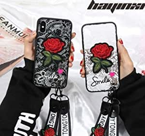 IPhone 7 8 8s X Case,Acrylic,Embossed Lace, Embroidery Rose,Anti-Shock and Anti-impact, Anti-dust, Case Caver,Idea for Valentine's day Mother's day (White)