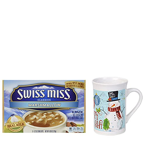 Swiss Miss Marshmallow, Hot Cocoa Mix, 4.38 Ounce with Holiday Time Snowman Christmas Mug Gift Set. The Perfect Christmas Gift Bundle. (Marshmallow Snowman Craft)