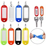 #10: 24PCS Plastic Key Tags with Split Ring Label Window, 8 Assorted Colors