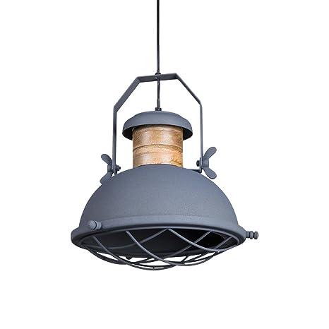 Lámpara de techo Belfast gris natural de metal y madera ...