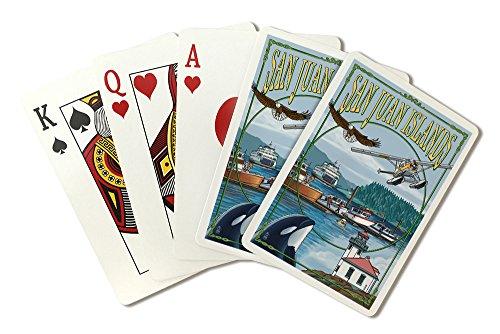 San Juan Islands, Washington - Montage (Playing Card Deck - 52 Card Poker Size with Jokers)