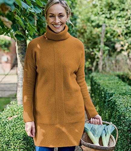 Wool Laine Overs Dark Tunique Mustard Femme À Mélangée Roulé Col rn7r1Txwq