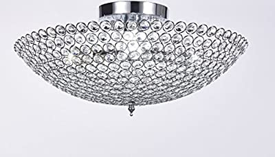 Elizabeth Lighting Flush Mount Crystal Chandelier, Chrome, Diameter 18 inches x Height 10 inches