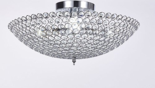 Elizabeth Lighting Flush Mount Crystal Chandelier, Chrome, Diameter 18 inches x Height 10 inches - Light Beautiful Crystal Chandelier