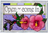 Hummingbird Hibiscus Welcome Horizontal Art Glass Panel 14 x 20