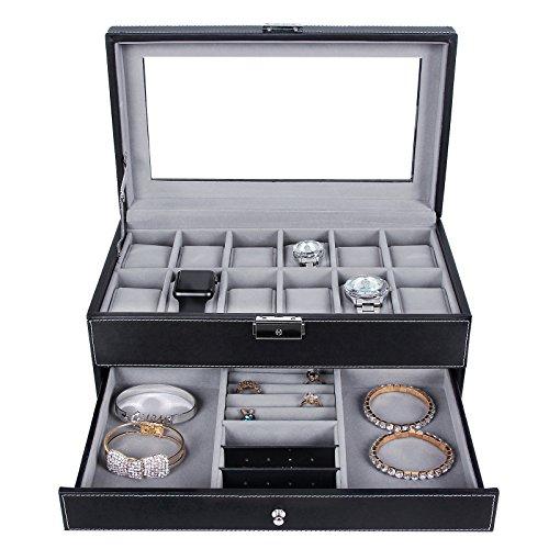 SONGMICS 12 Slots Watch Box Mens Watch Organizer Lockable Jewelry
