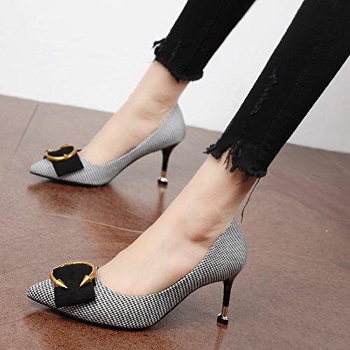 de Negro Zapatos Corte Heel zapatos metal Xue personalizado elegante Zapatos Qiqi Shoes tip alta y Pequeño solo C luz de la salvajes F1nxfqxgC