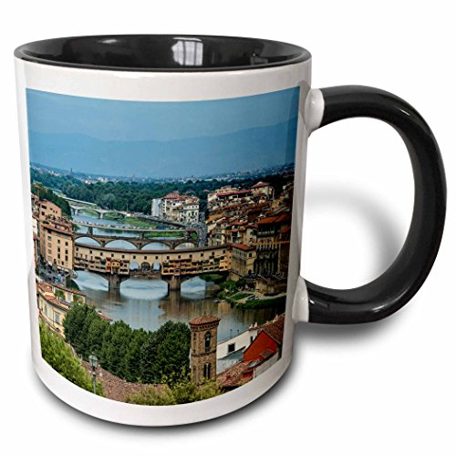 3dRose Danita Delimont - Italy - Over view of Florence, Italy with many bridges - 15oz Two-Tone Black Mug - Photographs Florence