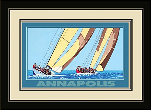 Northwest Art Mall DL-3752 FGDM TSB Annapolis Two Sailboats Framed Wall Art by Artist David Linton, 16 x - Annapolis Mall