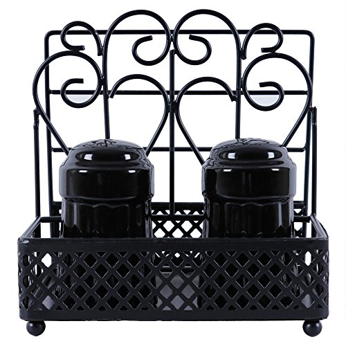 GoCraft Metal Napkin Holder and Salt & Pepper Caddy with Ceramic Shaker Sets - Black