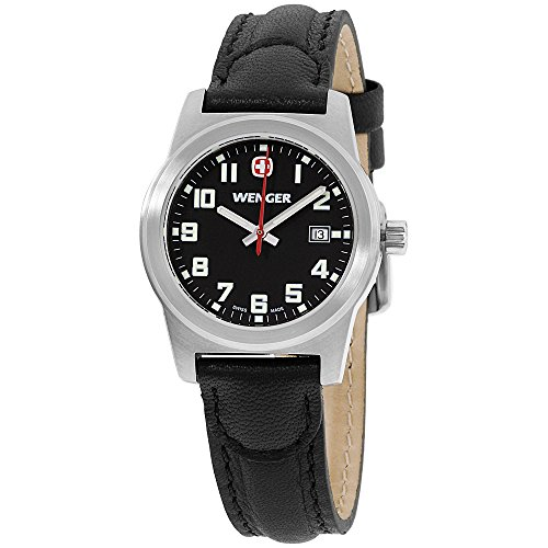 Wenger Field Classic Black Dial Leather Strap Ladies Watch 01.0411.113 (Classic Field Black Dial)