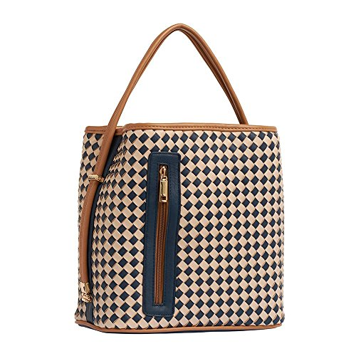Handbag Tan Woven (Samoe Style Navy Blue and Tan Woven Classic Upright Handbag)