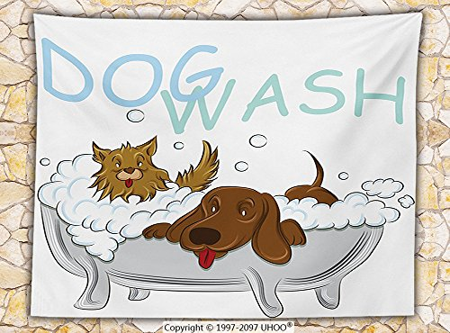 nursery decor Fleece Throw Blanket Playful Dogs Bathing in a Bathtub Bath Time Grooming Clean Pets Theme Illustration Throw
