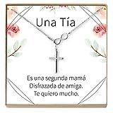 Collar Regalo para Tía: Joyería, Cumpleaños, Día de la Mujer, Sobrina a Tía, Infinity Cross (Silver-Plated-Brass, NA)