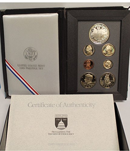 1989 S US Mint 7-piece Prestige Proof Set with Congressional Silver $1 and Commemorative 1/2 PR OGP