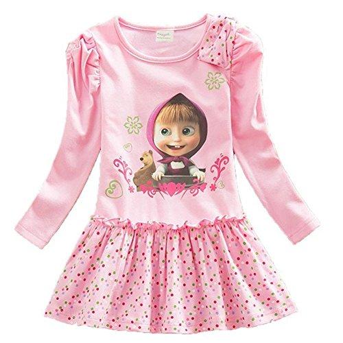 Girls Pink Jersey Dress - Bleubell Girls Navy Long Sleeve Dress Dinosaur for Toddlers Tweens 2-12Y (5T, Pink)