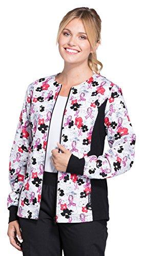 Cherokee Women's Zip Front Soft Side Panel Breast Cancer Awareness Print Scrub Jacket Medium (Front Breast Pockets)