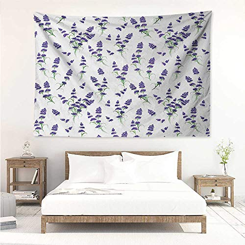 alisos Flower,Wall Decor Tapestry Watercolor Lavender Flowering Fragrant Pale Plant Essential Oil Extract Temperate 93W x 70L Inch Tapestry Wallpaper Home Decor Violet Green