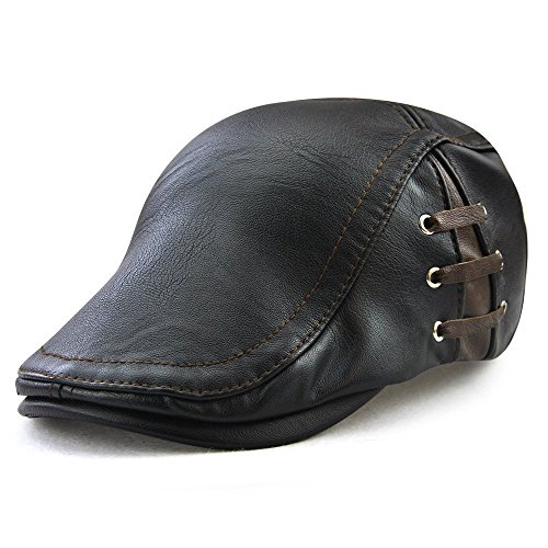 FayTop Men's Vintage Newsboy Cap PU Leather Ivy Flat Gatsby Hat Winter Golf Driving Hats Beret Caps E12968-black