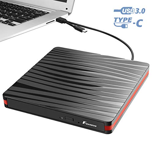 Foxnovo External CD Drive with USB 3.0 & Type-C Interface for DVD-ROM/DVD±R/DVD-R DL/CDA/CD-ROM/CD-R/VCD/SVCD/CD-RW, High Speed Data Transfer Drive for Windows XP/2003/Vista/7/8.1/10, Linux, Mac OS