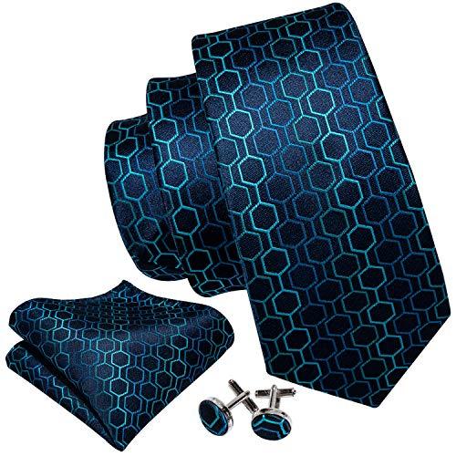 Blue Geometric Woven Silk Tie - Barry.Wang Fashion Navy Blue Tie Set Geometric Pattern
