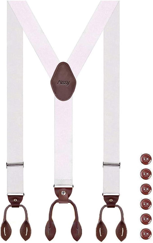 el/ástico y longitud ajustable tirantes anchos con 6 fuertes clips y pajarita forma de Y 3,5 cm Aissy 3 Way to Wear Tirantes para hombre