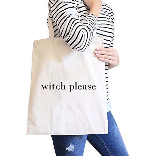365 Printing Witch Please Natural Cute Halloween Canvas Shoulder Bag Gift (Cute Halloween Gift Bag Ideas)