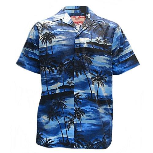 Mens-Clancey-Classic-Authentic-Blue-Hawaiian-Sunset-Shirt