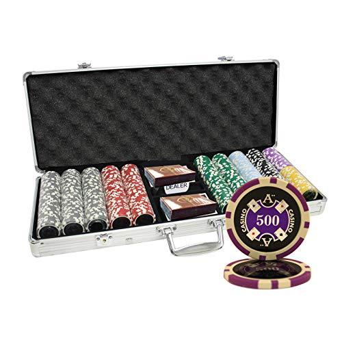 MRC 500pcs Ace Casino Laser Poker Chips Set with Aluminum Case