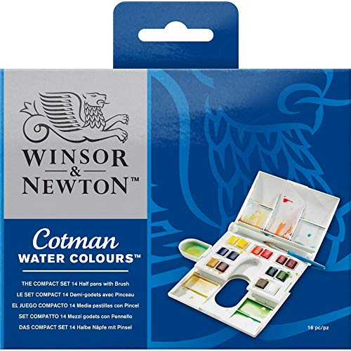 Winsor & Newton Cotman Water Colour Paint Compact Set, Set of 14, Half Pans ()