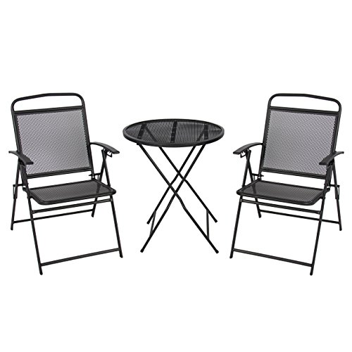 Best ChoiceProducts 3 Piece Patio Bistro Set Outdoor Table and Chairs Wrough Iron, Black Finish