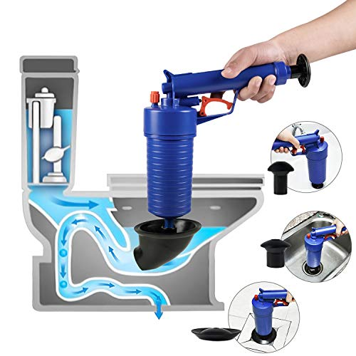 - ETERNA Air Drain Blaster, Sink Plunger, Air Power Toilet Plunger,Manual Pump Cleaner,Pipe Blaster,High Pressure Plunger for Bath/Toilet/Sink/Floor Drain/Kitchen Clogged Pipe