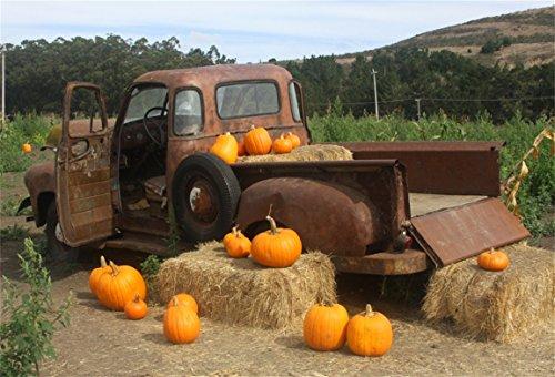 AOFOTO 8x6ft Autumn Harvest Pumpkins Farm Straw Countryside Background Baby newborn Cart Truck Scarecrow Photography Backdrop Kid Adult Artistic Portrait Photo Studio Props Video Drape Wallpaper