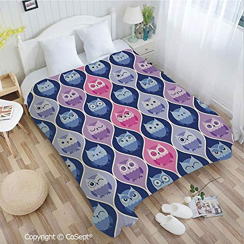 Warm Flannel Blanket,Tired Eyes Closed Sleeping Owls Silent Flight Kids Vertical Design Illustration,All Season Use(72.83