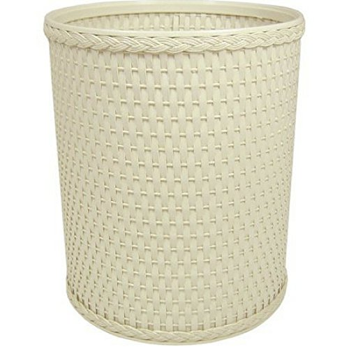 Chelsea Collection Decorator Color Round Wicker Wastebasket (Cream)