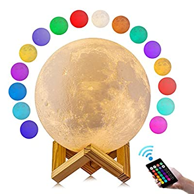 Moon Lamp, GDPETS 3D Printing Moon Night Light, Touch& Remote Control 16 Color Decorative Light(4.7 Inch)
