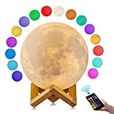 GDPETS Moon Lamp, 3D Printing Moon Night Light, Touch& Remote Control 16 Color Decorative Light(4.7 Inch)