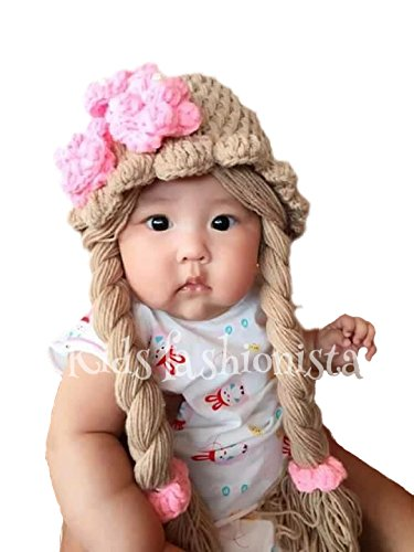 [Disney Princess Anna Elsa knit Baby Girl hat wig with braid (Large)] (Wigs For Babies)