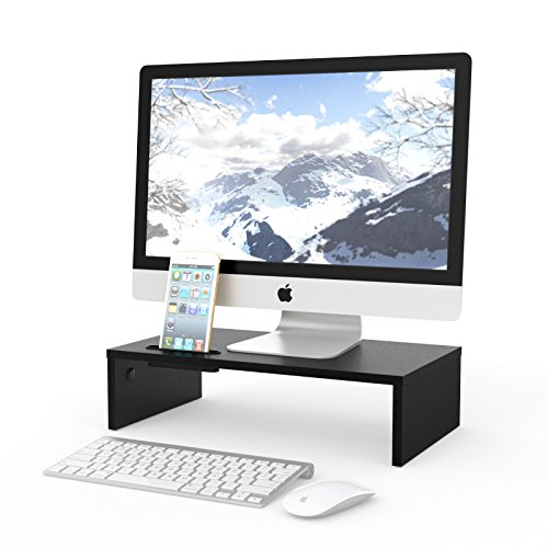 - 1home Wood Monitor Stand Riser Desk Storage Organizer, Speaker TV Laptop Printer Stand with Cellphone Holder and Cable Management, 16.7 inch Black