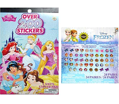 Sticker Set; Disney Princess Stickers Pad (4 Sheets) & Frozen Fever Earring Stickers (24 Pairs) - Disney Party Brave Favor