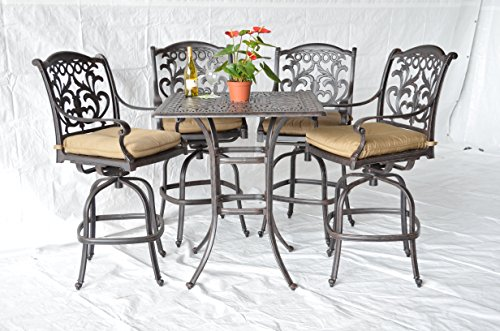Mandalay Outdoor Patio 5pc Bar Set Dark Bronze Cast Aluminum, Walnut Cushions