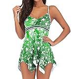 TIFENNY Women Plus Size Pentagram Print Tankini Bathing Suit Swimsuit Beachwear Padded Swimwear Color Block Swimdress Green