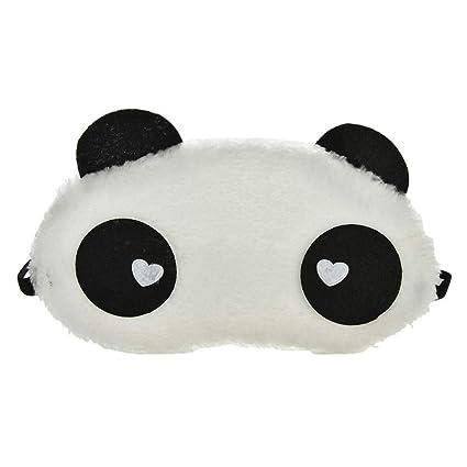 Máscara de dormir con diseño de panda blanca de dibujos animados, máscara de ojos ajustable