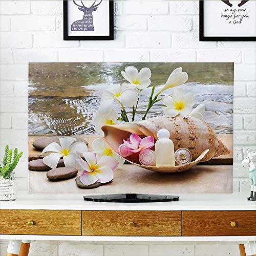 (Leighhome tv Protective Cover Trio Bubblebath with Cream and Liquid Soap with and Sea Shell White and Brown tv Protective Cover W36 x H60 INCH/TV 65