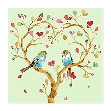Superluckty Dos pájaros del Amor estacionados en el árbol Árbol de Amor Dibujar en Lienzo Pintura Digital Famosos Cuadros Pintura Abstracta Guitarra de ...