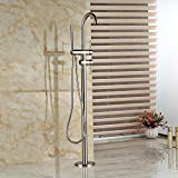 Votamuta Floor Mounted Nickel Brushed Bathtub Shower Faucets 2 Handles Single Lever Free Standing Tub Mixer Taps with Handheld Shower