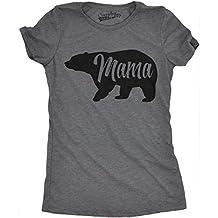 Womens Bear Mama Funny Shirts for Moms Gift Idea Novelty Tees Family T shirt (Dark Grey) -XL