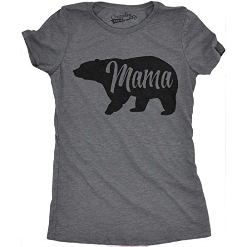 Womens Mama Bear Funny T Shirt for Moms Gift Idea Novelty Wild Animal Family Tee (Dark Grey) -L Funny Bear