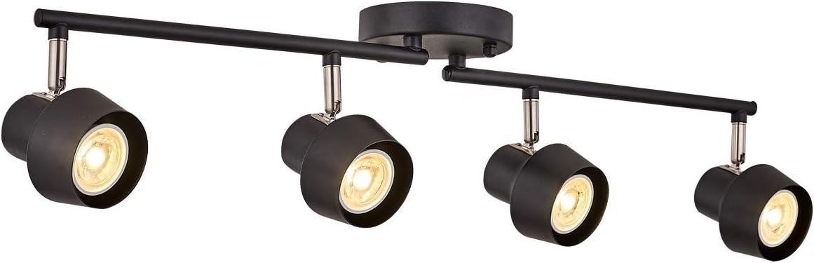 TeHenoo 4-Light Track Lighting Fixtures,Adjustable Track Heads, Foldable LED Track Ceiling Light for Kitchen, Office,Dining Room,Bar,Black
