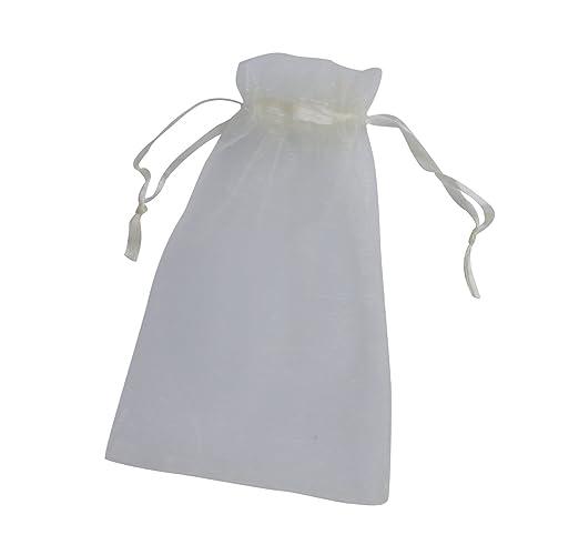 ONW Bolsas de Organza para Envolver Regalo Detalle de Boda Joyas Caramelo Dulces Bolsitas para Regalos ,Blanco 100 PCS 10x15cm